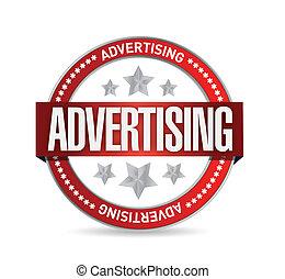 postzegel, advertising., woord, illustratie