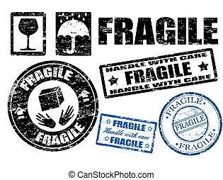 postzegels, breekbaar, tekens & borden