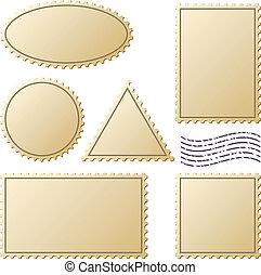 postzegels, vector, set