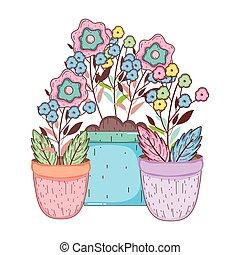 pot, bloemen, tuin