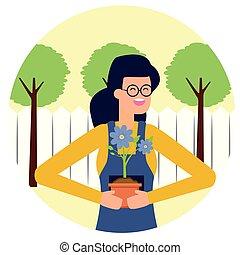 pot, vrouw, tuinieren, bloem, tuinman