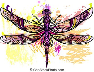 potlood, kunst, gespetter, watercolor, sketchy, vector, filigraan, lijn, dragonfly., texture.