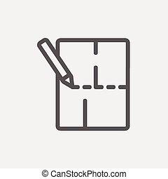 potlood, mager, achtergrond, lijntekening, pictogram