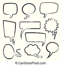 potlood, schets, set, communie, bel, denken, doodle, vrijstaand, texture., bubbles., vector, toespraak, boodschap, krabbelen, spotprent, ballons