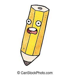 potlood, spotprent, textuur, vrolijke
