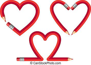 potlood, vector, set, rood, hartjes