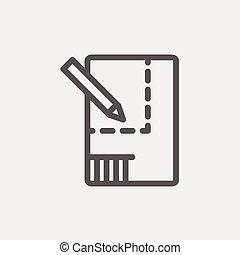 potlood, woning, schetsen, papier, dune lijn, pictogram