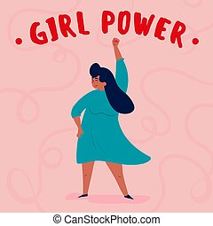 power., vrouw, gemachtigde, enkel, meisje, sterke