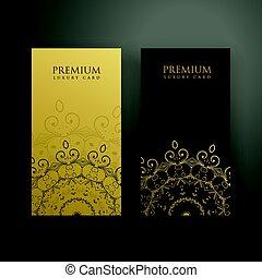 premie, goud, kleuren, black , kaarten, mandala