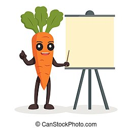 presentatie, wortel, karakter, plank, leeg