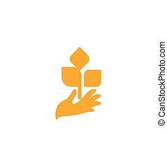 product, organisch, spruit, natuur, logotype., teken., leaves., illustratie, hand, vector, life., sinaasappel, landbouwkundig, element, nieuw, oogst