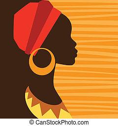 profiel, earrings., meisje, silhouette, afrikaan