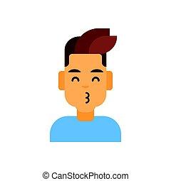 profiel, emotie, mannelijke , gezicht, avatar, kus, slag, man, verticaal, het glimlachen, pictogram, spotprent, vrolijke