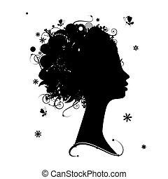 profiel, hairstyle, silhouette, ontwerp, vrouwlijk, floral, jouw