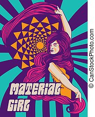 psychedelic, vrouw, poster, ouderwetse
