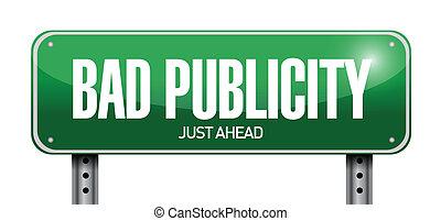 publiciteit, illustratie, meldingsbord, slecht, ontwerp, straat
