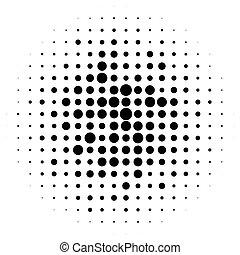 punten, monochroom, pattern., half-tone, halftone, cirkels