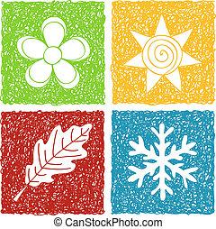 quatres saisons, doodle, iconen