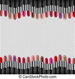randjes, kleurrijke, lipsticks, achtergrond, transparant