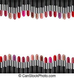 randjes, kleurrijke, witte achtergrond, lipsticks
