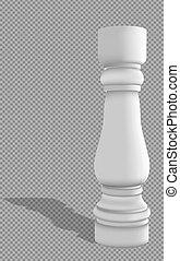 realistisch, baluster, achtergrond., transparant, schaduw, witte