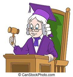 rechter, schattig, spotprent, jongen