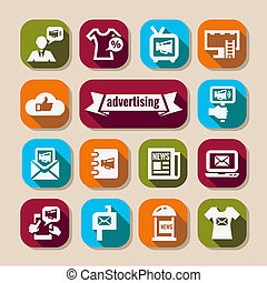 reclame, set, lang, schaduwen, iconen
