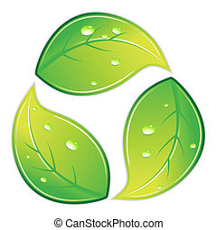 recycleren symbool, leafy