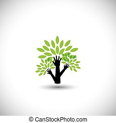 recycling, concept, natuur, eco, boompje, -, bladeren, portie, v, hand