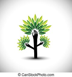 recycling, eco, blad, boompje, hand