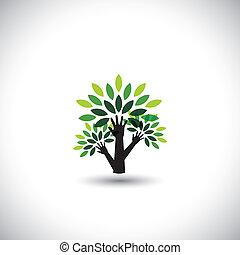 recycling, evenwicht, grafisch, concept, natuur, eco, boompje, beschermen, -, biosfeer, hand, portie, ook, ecologisch, bescherming, vector., vertegenwoordigt, duurzaam, bladeren, opslag, levend