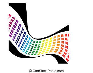 regenboog, golvend, pleinen