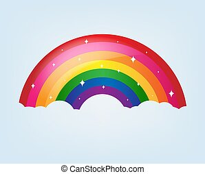 regenboog, spotprent, achtergrond, sterretjes, blauwe