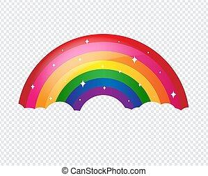 regenboog, spotprent, achtergrond, transparant, sterretjes