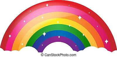 regenboog, spotprent, witte achtergrond, sterretjes