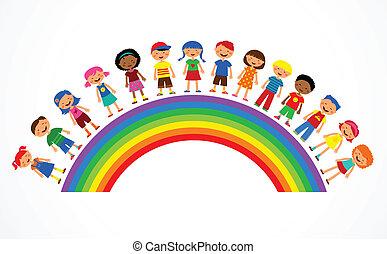 regenboog, vector, geitjes, illustratie, kleurrijke