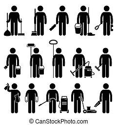 reinigingsmachine, gereedschap, poetsen, man