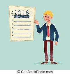 resolutions, jaar, lijst, zakenman, nieuw, het glimlachen, 2016, spotprent