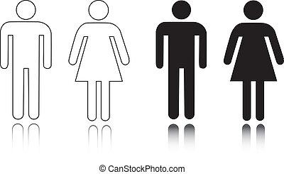 restroom, mannelijke , vrouwlijk, pictogram