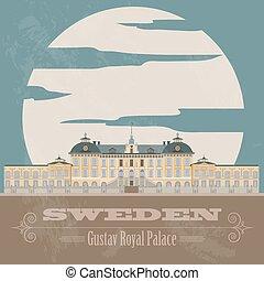 retro, zweden, landmarks., gestyleerd