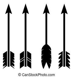 richtingwijzer, set, pictogram