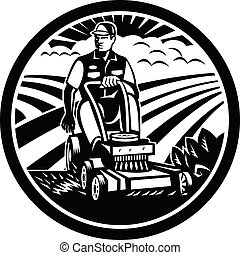 rijden, wei, witte , tuinman, maaier, black , retro, landscaper, het maaien, ouderwetse