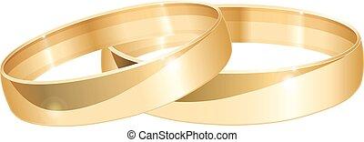 ringen, goud, trouwfeest