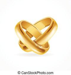 rings., vector, glanzend, goud, trouwfeest