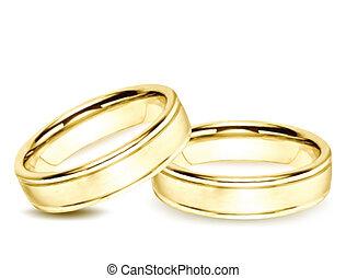 rings., vector, goud, illustratie, trouwfeest
