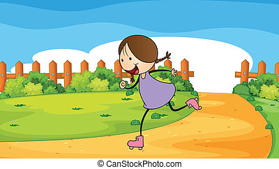 rollerskating, vrouw, jonge