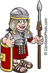 romein, spotprent, soldaat, karakter