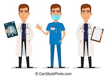 rontgen, professioneel, zwaaiende , hand, arts, grit, set, klembord, jonge
