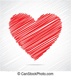 rood hart, schets, ontwerp