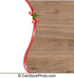 rood hout, kerstmis, achtergrond, boog
